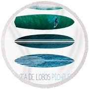 My Surfspots Poster-3-punta De Lobos-chile Round Beach Towel by Chungkong Art