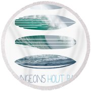 My Surfspots Poster-4-dungeons-cape-town-south-africa Round Beach Towel by Chungkong Art