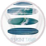 My Surfspots Poster-5-devils-point-tasmania Round Beach Towel