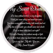 My Sweet Wonder Poetry Art Round Beach Towel