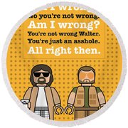 My The Big Lebowski Lego Dialogue Poster Round Beach Towel by Chungkong Art