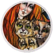 My Three Cats Round Beach Towel