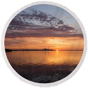 My World This Morning - Toronto Skyline At Sunrise Round Beach Towel