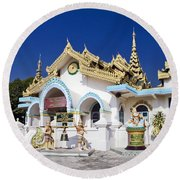 Myanmar Buddhist Temple Round Beach Towel