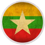 Myanmar Burma Flag Vintage Distressed Finish Round Beach Towel