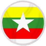 Myanmar Flag Round Beach Towel