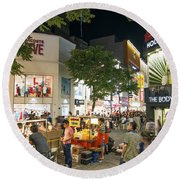 Myeongdong Shopping Street In Seoul South Korea Round Beach Towel