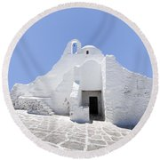 Mykonian Church Round Beach Towel