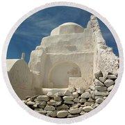 Mykonos Church Round Beach Towel