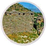 Myra's Roman Theatre In Fourth Century-turkey Round Beach Towel