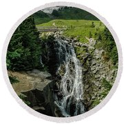 Myrtle Falls In Front Of Mt. Rainier Round Beach Towel