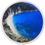 Myrtos Beach Kefalonia Greece  Round Beach Towel