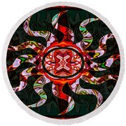 Mysterious Circumstances Abstract Sun Symbol Artwork Round Beach Towel