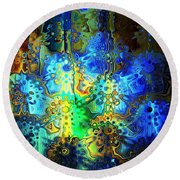Mysterious Icons Round Beach Towel