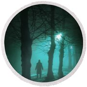 Mysterious Man In A Foggy Forest Round Beach Towel