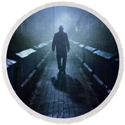 Mysterious Man In Fog At Night Round Beach Towel