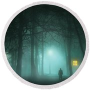 Mysterious Man In Fog With House And Window Light Round Beach Towel