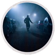 Mysterious Man With Pistol At Night In Fog Round Beach Towel