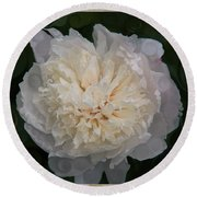 Mysterious White Peony Abstract Painting Round Beach Towel