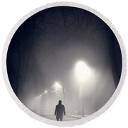 Mystery Man In Fog Round Beach Towel