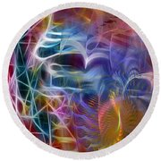 Mystery Of Light -square Version Round Beach Towel