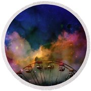 Take A Mystery Ride In The Multicolored Clouds Round Beach Towel