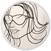 Mystery Woman Round Beach Towel