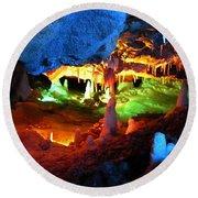 Mystic Caverns Round Beach Towel