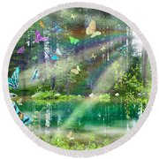 Mystic Foggy Forest Round Beach Towel by Alixandra Mullins