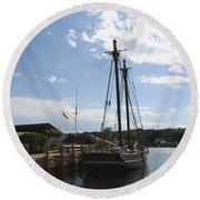 Mystic Harbor - Ct Round Beach Towel
