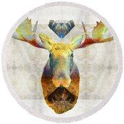 Mystic Moose Art By Sharon Cummings Round Beach Towel