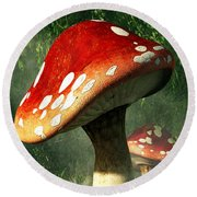 Mystic Mushroom Round Beach Towel