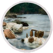 Mystic River I Round Beach Towel
