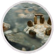 Mystic River Iv Round Beach Towel
