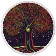 Mystic Spiral Tree Red By Jrr Round Beach Towel