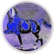 Mysterious Stallion Abstract Round Beach Towel