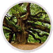Mystical Angel Oak Tree Round Beach Towel