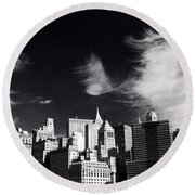 Mystical Manhattan Morning Round Beach Towel