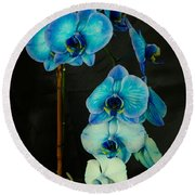 Mystique Blue Orchids Round Beach Towel