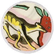Mythical Animal  Round Beach Towel by Franz Marc