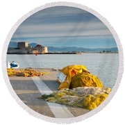 Nafplio Fishing Harbour Round Beach Towel