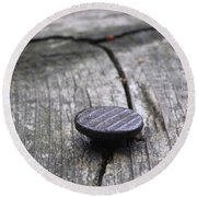 Nail And Old Wood Round Beach Towel