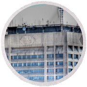 Naked Hsbc Tower V2 Round Beach Towel