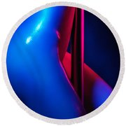 Naked Woman Pole Dancing Closeup Of Nude Body Round Beach Towel