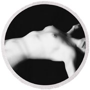 Naked Woman Round Beach Towel
