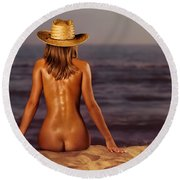 Naked Woman Sitting At The Beach On Sand Round Beach Towel