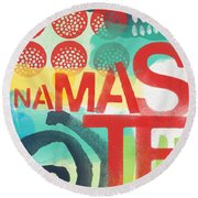 Namaste- Contemporary Abstract Art Round Beach Towel