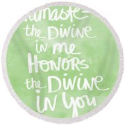 Namaste Green And White Round Beach Towel by Linda Woods