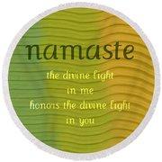 Namaste Round Beach Towel by Michelle Calkins