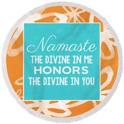 Namaste Watercolor Flowers Round Beach Towel